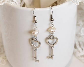 White Fresh Water Pearls with Key