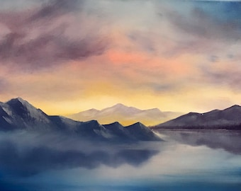 Oil Painting of Sunset Over Mountains and Fjords