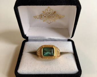 Men's 70's Tourmaline Gold over Sterling Ring