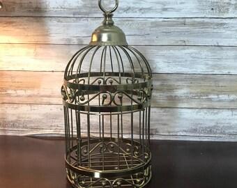 "Decorative 13"" Brass Gold Metal Bird Cage Wedding Gift Card Basket Hanging"