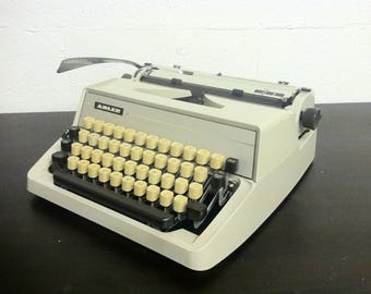 Vintage Typewriter - Adler J2 - Cursive Text/Font - Manual - Portable w/ Travel Case - Cream - Made in Germany