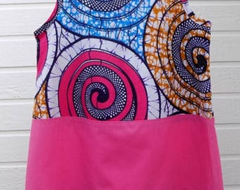"African girl dress spiral blue dress, pink skirt, Ruffles ""chaleston"""