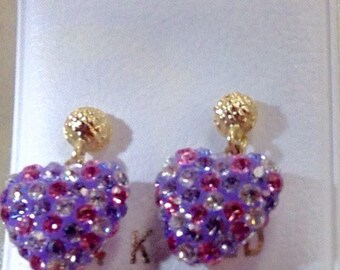 New 14kt Gold Hanging Crystal Multicolor Heart Earrings-Free Shipping!