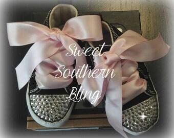 Black & Hot Pink Baby Bling Converse Crib Shoes