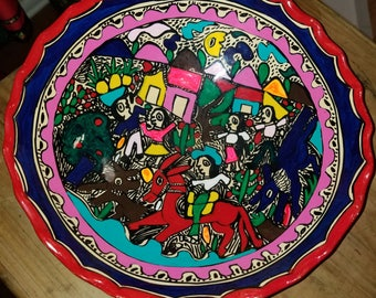 Hand Painted Colorful Mexican Fruit Bowl