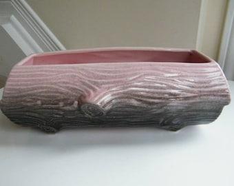 Beauceware Retro Ceramic Planter, Vintage Beauceware Log Planter, Pink and Grey Pot, 1960's