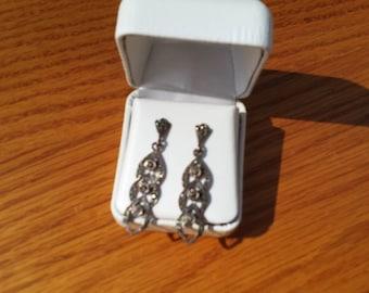Vintage Sterling .925 Stud Earrings With Marcasite