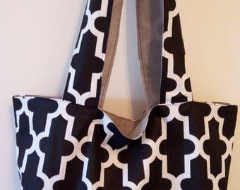 TOTE BAG handmade fabric reversible black and white shoulder bag