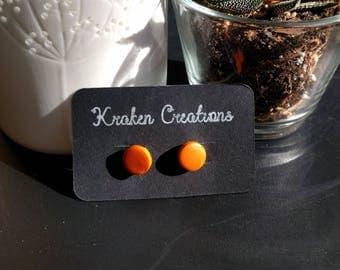 Orange polymer clay stud earrings