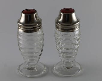 Airko Clear Beehive Glass Salt & Pepper Shaker Set