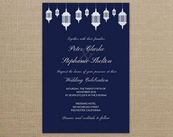 Lantern Wedding Invitation Printable, Lantern Wedding Set, Wedding Invitation Navy Blue, Wedding Invite Navy Blue, Lantern Wedding