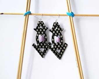 Black and white dotted earrings