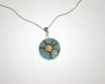 Necklace cabochon 25 mm length of chain 60 cm