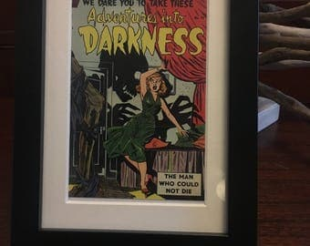 Retro 1950's Comic book cover - Framed - Adventures Into Darkness