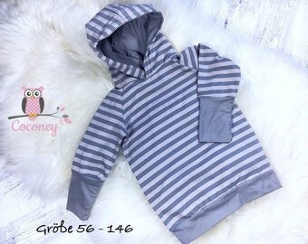 Baby shirt grey & beige - girls young sweater striped - stripes Jersey - handmade children's clothing - tailor made child