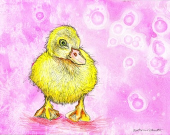 Duckling (original watercolor and ink painting)