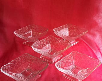 Vintage set of diamond shaped pedestal dishes