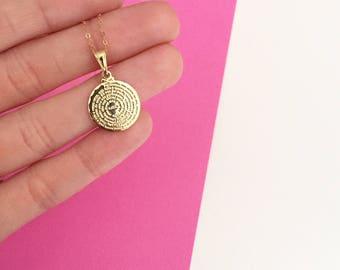 Mini Padre Nuestro Medallion- Gold Filled Necklace, Padre Nuestro Necklace, Gold Medal