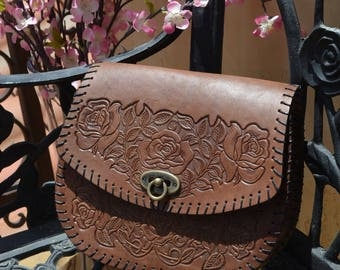 Chocolate Brown Hand Tooled Leather Cross Body
