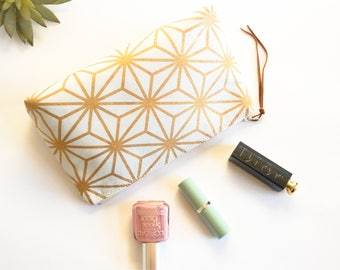 Geometric Star Makeup Bag, Japanese Star Cosmetic Pouch, Gold and White Makeup Pouch, Toiletries Case, Makeup Pouch, Bridesmaid Gift Idea