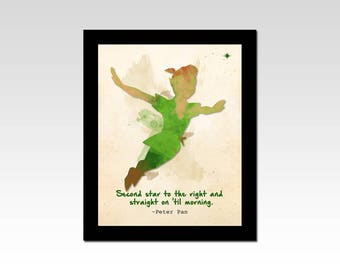"Peter Pan inspired ""Second Star to the Right and Straight on 'till Morning"" watercolour effect print"