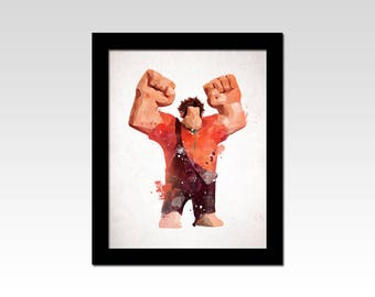 Wreck it Ralph inspired watercolour effect print
