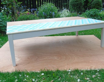 Upcycled Danish made coffee table.  Hand stenciled plywood.