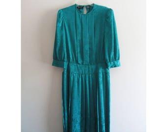 Vintage 1950s 50s Billy Jack for Her Teal Floral Flower Print Pleated Minimal 3/4 Sleeve Knee Dress Sz 11/12 Large
