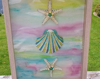 Blue and Pink Hand Painted Scallop Shell and Starfish