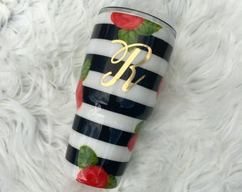 Stripe and Flower Stainless Steel Tumbler Cup