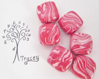 Pink and white swirl beads, square beads, handmade beads, polymer clay beads