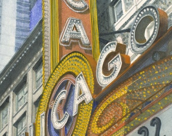 """Limited edition of 200 giclee prints per size of my """"Chicago Marque"""" on archival paper,  hand signed and dated,  Chicago cityscape"""