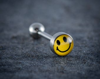 "1.6mm (14g) 316L Surgical Steel Logo Tongue Bar ""SMILEY FACE"""
