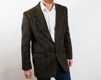 Vintage Mens Large Green and Brown Wool Sports Coat Suit Blazer / Italy