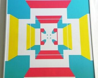 Poster, graphic art, illustration, decoration, graphic poster, poster design, digital art, geometry print - narrow door