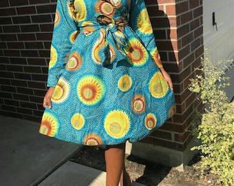 women ankara/ summer dress/ ankara print long sleeve/ african dress knee length