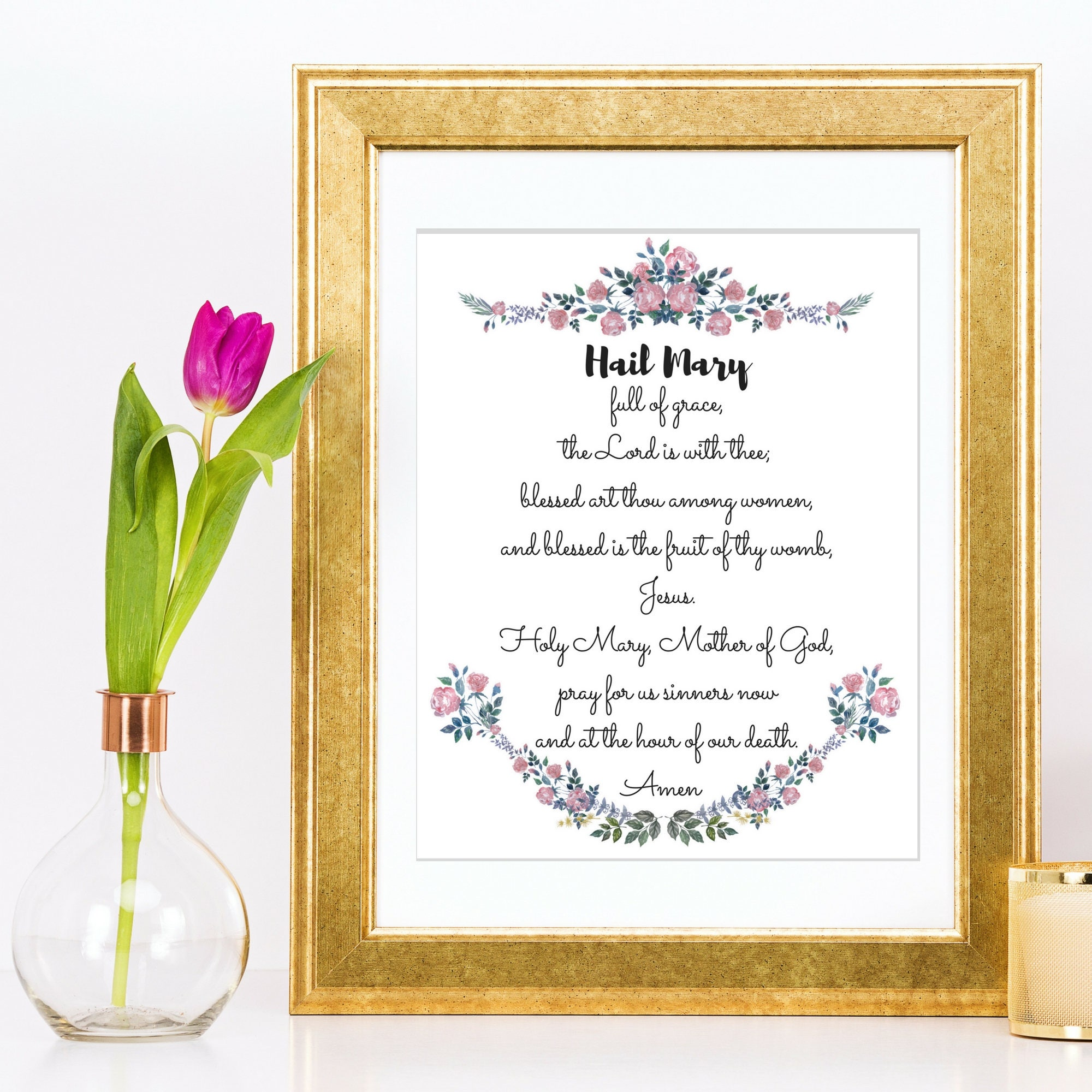 hail mary prayer printable watercolor floral anchor motif