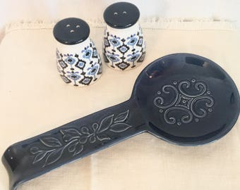 Navy Spoon Rest and Salt and Pepper Shakers
