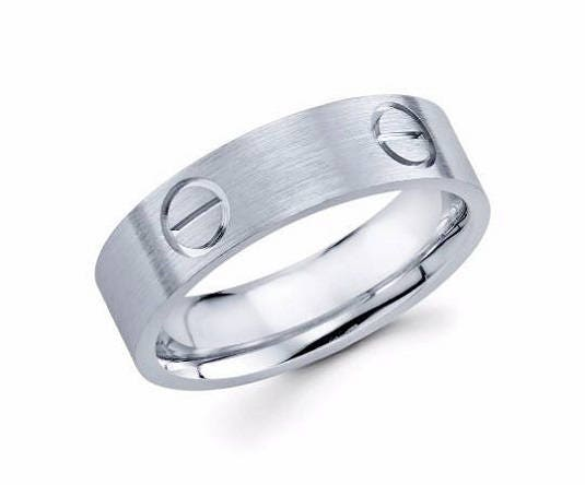 Mens Wedding Band 14kt White Gold Ring Male Engagement Man Screw 6mm