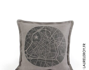 Lille removable grey linen cushion