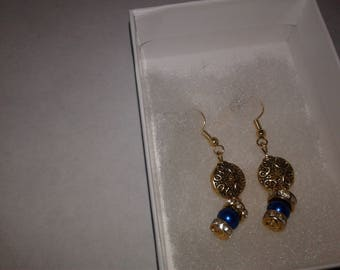 18k gold plated, metal and glass bead earings