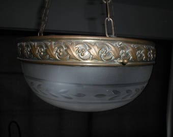 An elegant Art Deco,Art Nouveau ceiling lamp with engraved bronze hanging and satinated glass shade.1930's