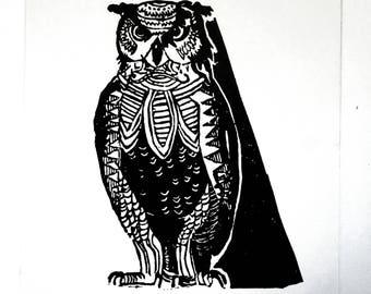 Owl linocut 15 x 21 cm