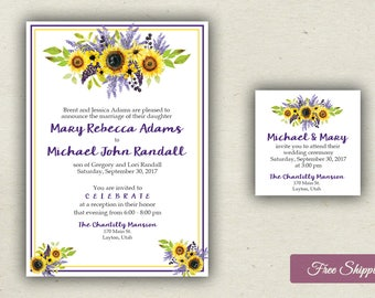 Beautiful Fall Sunflower and Lavender Invitations Printed