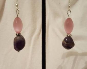 Pink and purple beaded dangle earrings.