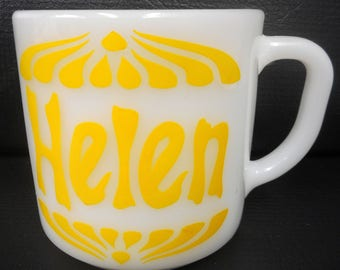 "Vintage Helen Milk Glass Mug 3"" by Federal Heat Proof, Number 67, Made in USA, Yellow First Name Helen"