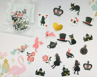 One pack of alice in wonderland stickers