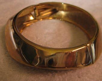 Shiny Angles on   Hinged Golden Bangle