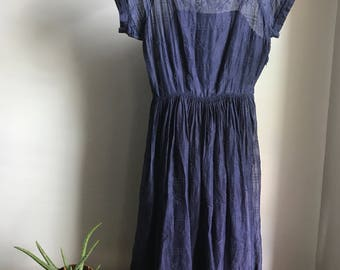 Vintage navy blue A-line skirt gauzy floral boat neck dress size xs small 60s full pleated skirt