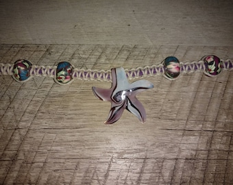 Handcrafted Hemp Necklace with Hand Blown Star Pendant and Glass Beads